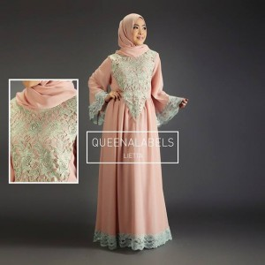 model baju gaun pesta muslim modern sifon dan taff LIETTA by QUEENALABELS