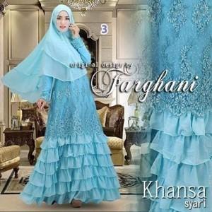 Grosir baju gaun pesta busana muslim brokat modern terbaru khansa farghani