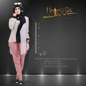 distributor baju kerja muslim modis terbaru ar-rumbi set by unique