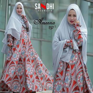 busana muslim model gamis hijab syar'i murah ameena sandhi