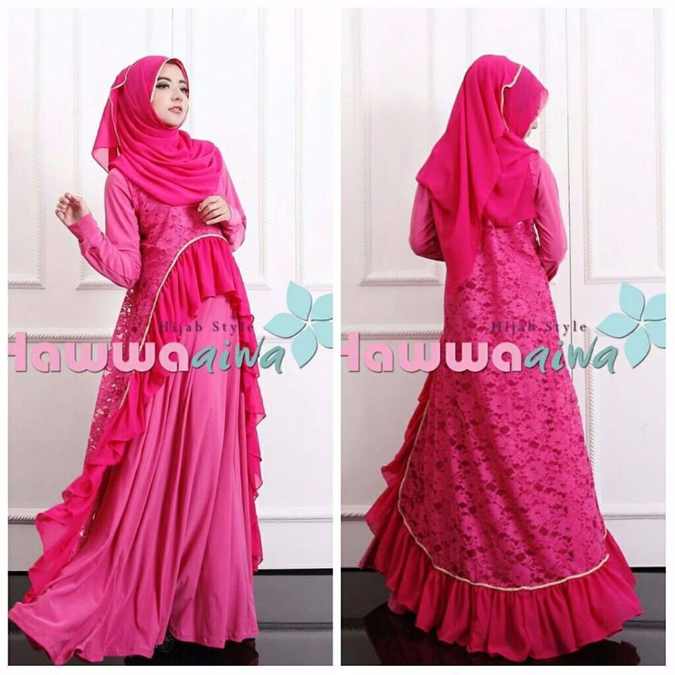 Gaun Model Gamis Pesta Muslim Brokat Lubella Hawwa Aiwa
