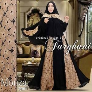 model gaun baju pesta muslim modern brokat terbaru monza syari farghani