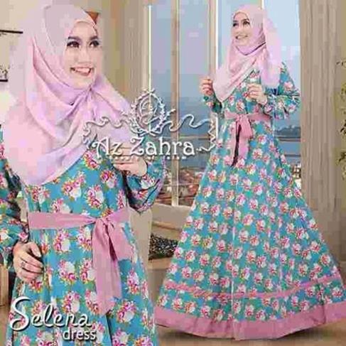 Busana Muslim Baju Syari Hijab Syari Selena Dress Azzahra