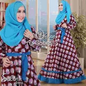 busana muslim baju syar'i hijab syar'i murah selena dress by azzahra