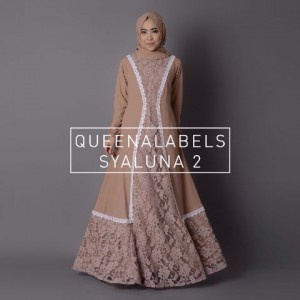 busana muslim terbaru modern model gamis brokat syaluna dress queenalabels