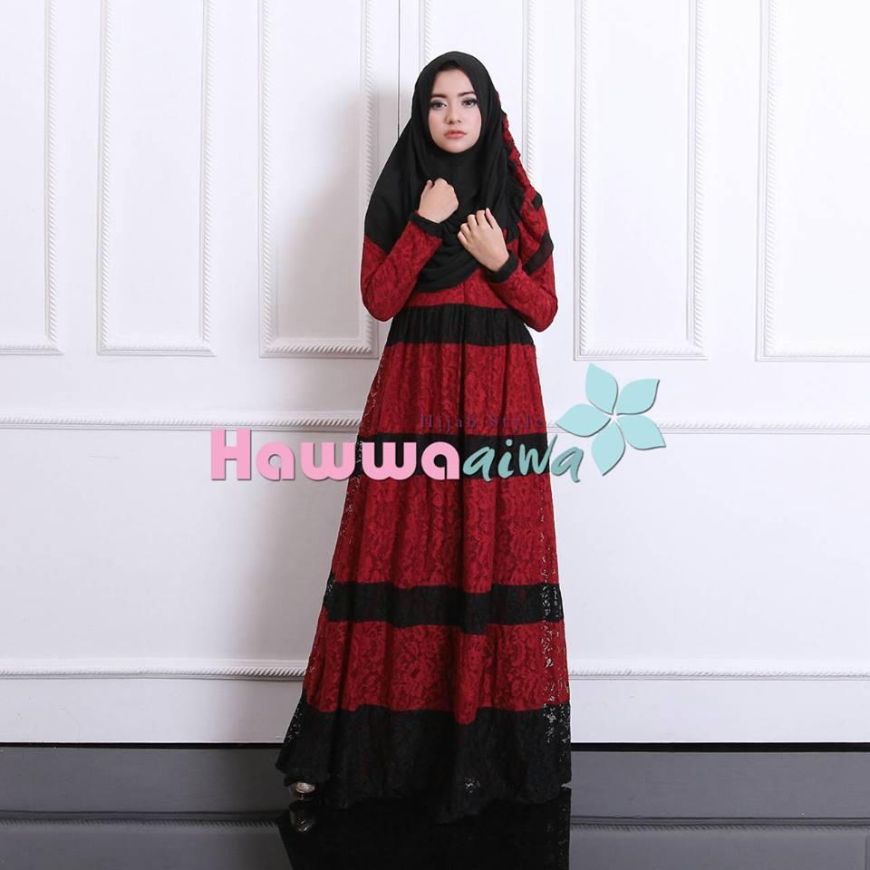 Baju muslim model gamis modern selma brokat hawwa aiwa Baju gamis terbaru bahan organdi