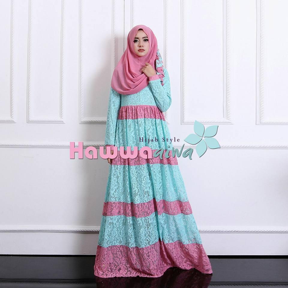 Baju Muslim Model Gamis Modern Selma Brokat Hawwa Aiwa