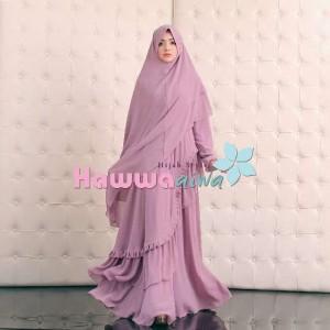 Grosir baju gamis syar'i terbaru Khadeeja Hawwa Aiwa satu set hijab syar'i bahan ceruty babydoll furing katon rayon lima pilihan warna