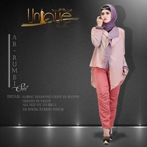 distributor baju kerja muslim modis terbaru ar-rumbi set by unique