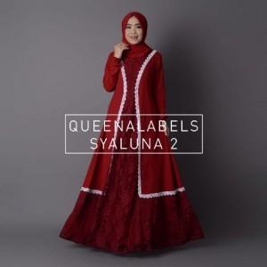 busana muslim terbaru modern model gamis brokat syaluna dress queenalabels